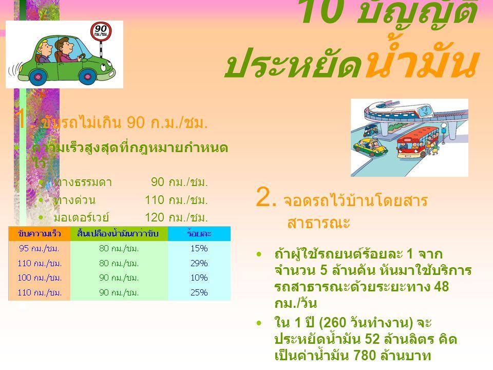10 บัญญัติ ประหยัด น้ำมัน 1. ขับรถไม่เกิน 90 ก. ม./ ชม.