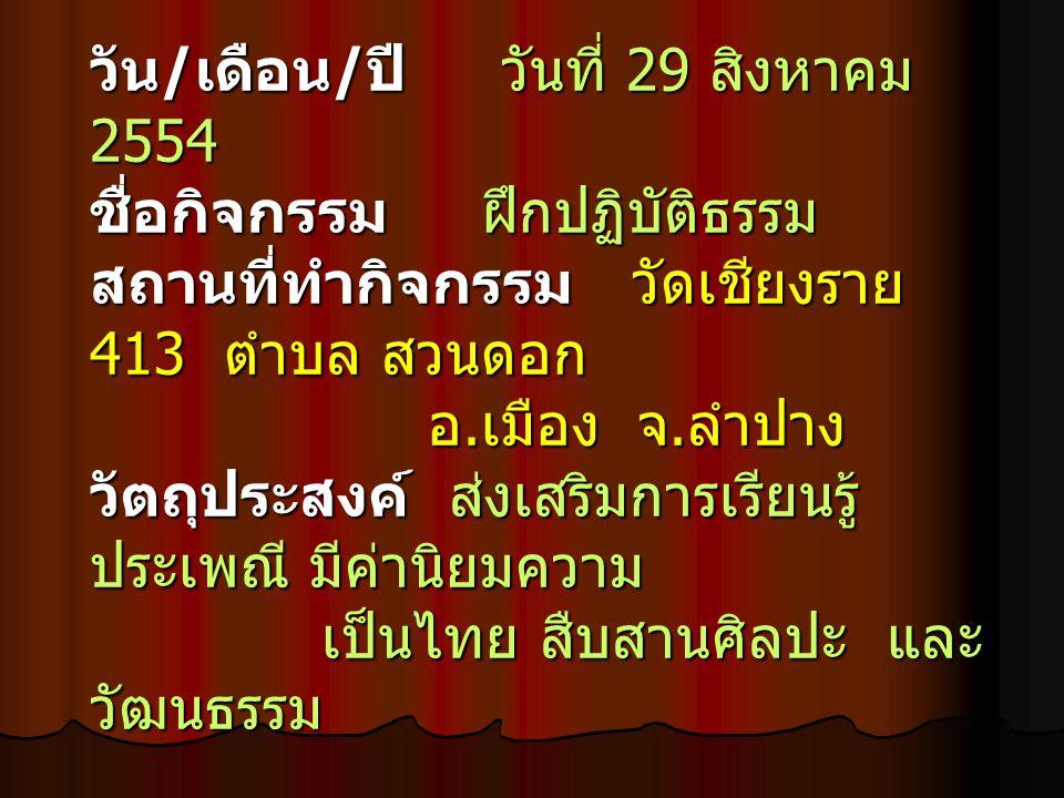 วัน / เดือน / ปี วันที่ 29 สิงหาคม 2554 ชื่อกิจกรรม ฝึกปฏิบัติธรรม สถานที่ทำกิจกรรม วัดเชียงราย 413 ตำบล สวนดอก อ.