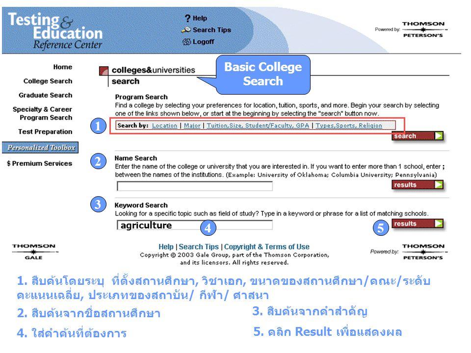Basic College Search 1. สืบค้นโดยระบุ ที่ตั้งสถานศึกษา, วิชาเอก, ขนาดของสถานศึกษา/คณะ/ระดับ คะแนนเฉลี่ย, ประเภทของสถาบัน/ กีฬา/ ศาสนา 1 2. สืบค้นจากชื
