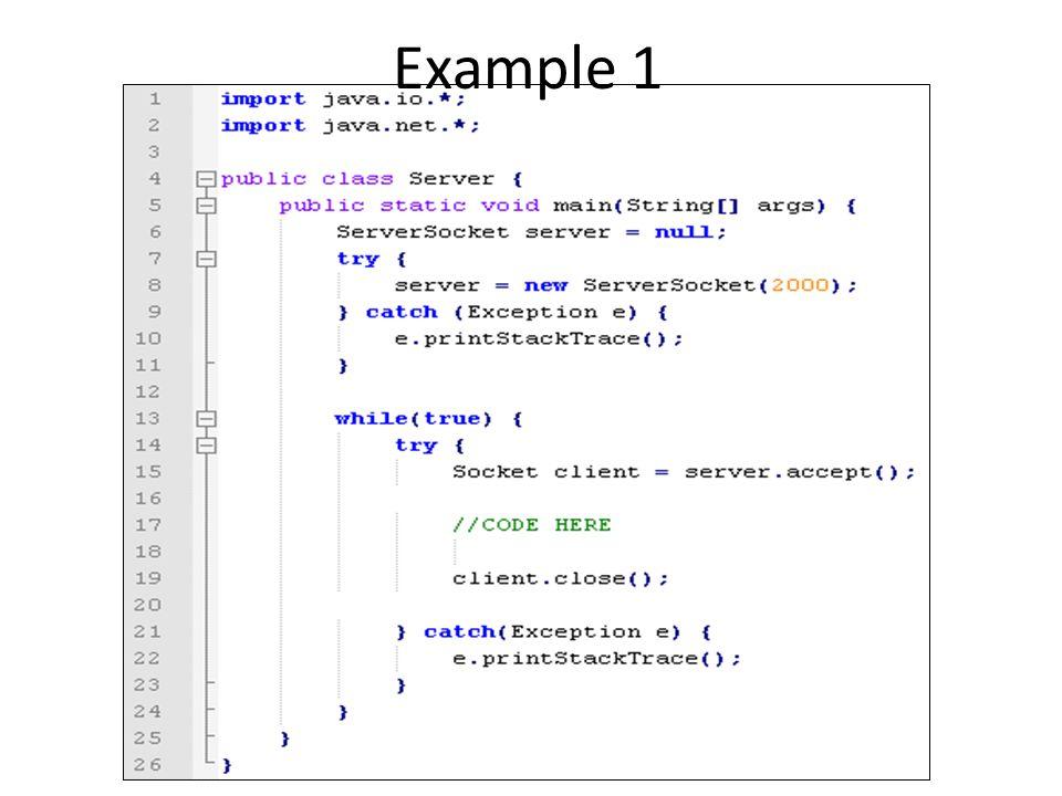 Exercise 1 จงเขียนโปรแกรม Client1.java และ Server1.java โดย – Server1.java เป็นโปรแกรม Server ที่จะให้บริการที่พอร์ต 4567 – Client1.java เป็นโปรแกรม Client ที่จะติดต่อไปยัง server ที่พอร์ต 4567 – Protocol Client จะเป็นฝ่ายส่งคำว่า Hello ไปหา Server Server จะตอบว่า Welcome ถ้า Client ส่งหาอื่นไปหา Server, Server จะตอบ GO AWAY Client จะแสดงค่าที่ server ตอบกลับพร้อมทั้งปิดการ เชื่อมต่อ