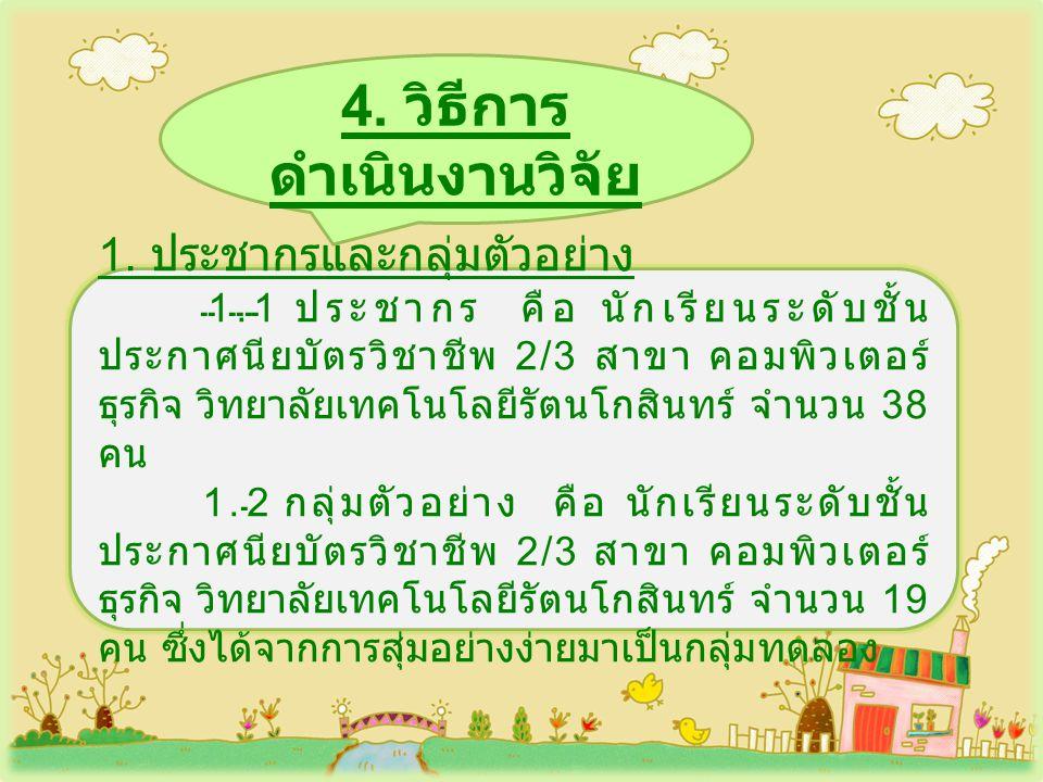 4.วิธีการ ดำเนินงานวิจัย ( ต่อ ) 2.