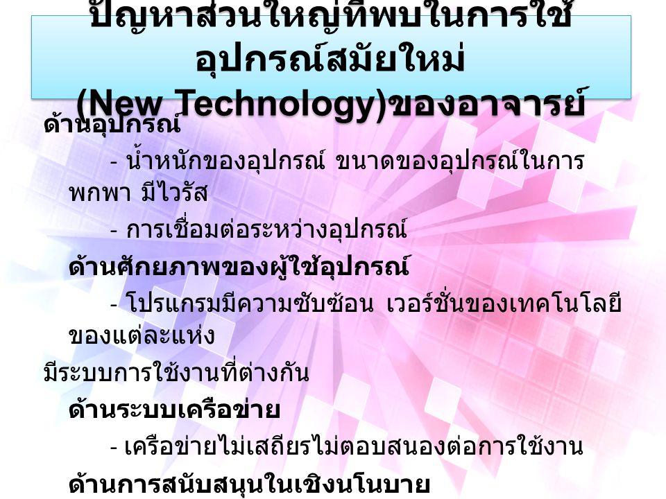 ปัญหาส่วนใหญ่ที่พบในการใช้ อุปกรณ์สมัยใหม่ (New Technology) ของอาจารย์ ด้านอุปกรณ์ - น้ำหนักของอุปกรณ์ ขนาดของอุปกรณ์ในการ พกพา มีไวรัส - การเชื่อมต่อระหว่างอุปกรณ์ ด้านศักยภาพของผู้ใช้อุปกรณ์ - โปรแกรมมีความซับซ้อน เวอร์ชั่นของเทคโนโลยี ของแต่ละแห่ง มีระบบการใช้งานที่ต่างกัน ด้านระบบเครือข่าย - เครือข่ายไม่เสถียรไม่ตอบสนองต่อการใช้งาน ด้านการสนับสนุนในเชิงนโนบาย - อุปกรณ์แบบใหม่ไม่เชื่อมโยงกับทรัพยากรใน ห้องเรียน