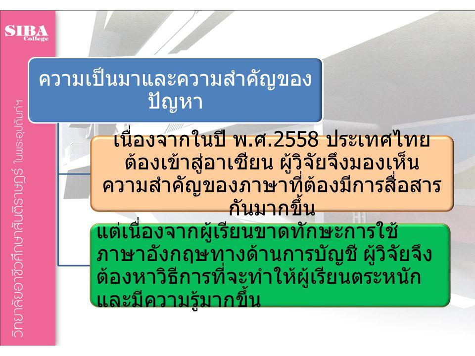 ความเป็นมาและความสำคัญของ ปัญหา เนื่องจากในปี พ. ศ.2558 ประเทศไทย ต้องเข้าสู่อาเซียน ผู้วิจัยจึงมองเห็น ความสำคัญของภาษาที่ต้องมีการสื่อสาร กันมากขึ้น