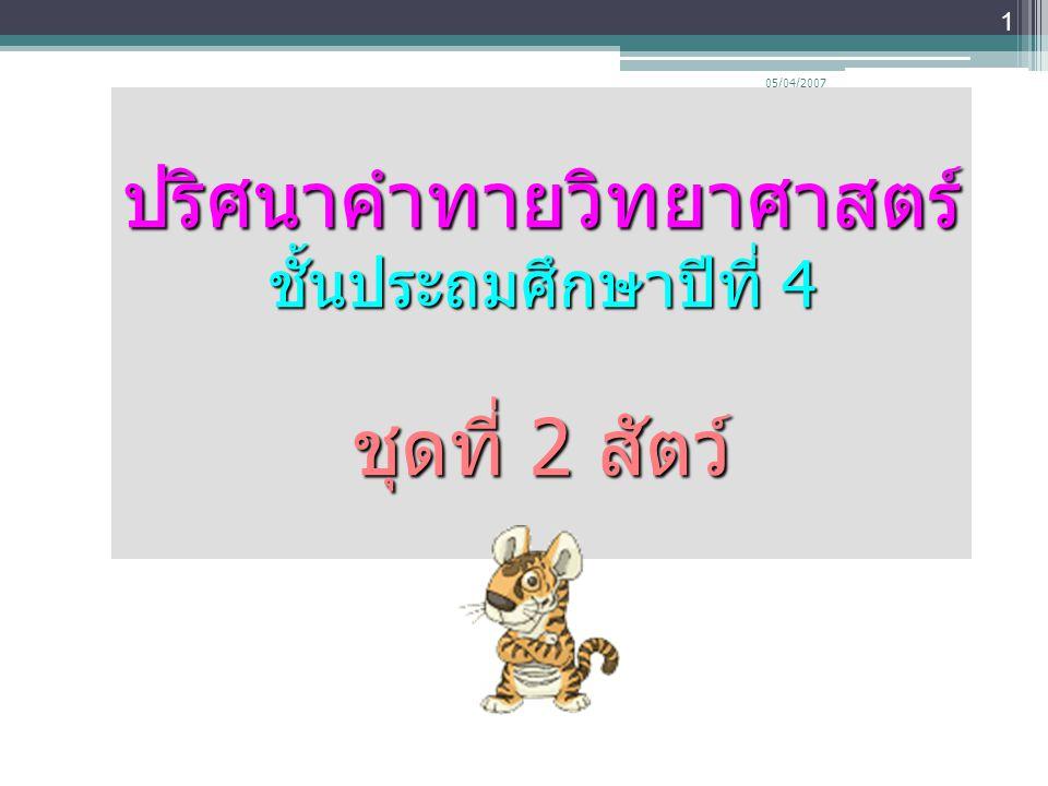 05/04/2007 1 ปริศนาคำทายวิทยาศาสตร์ ชั้นประถมศึกษาปีที่ 4 ชุดที่ 2 สัตว์