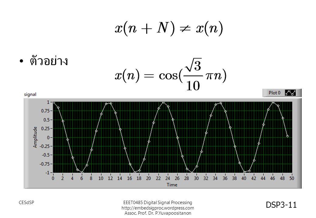 ตัวอย่าง CESdSPEEET0485 Digital Signal Processing http://embedsigproc.wordpress.com Assoc. Prof. Dr. P.Yuvapoositanon DSP3-11