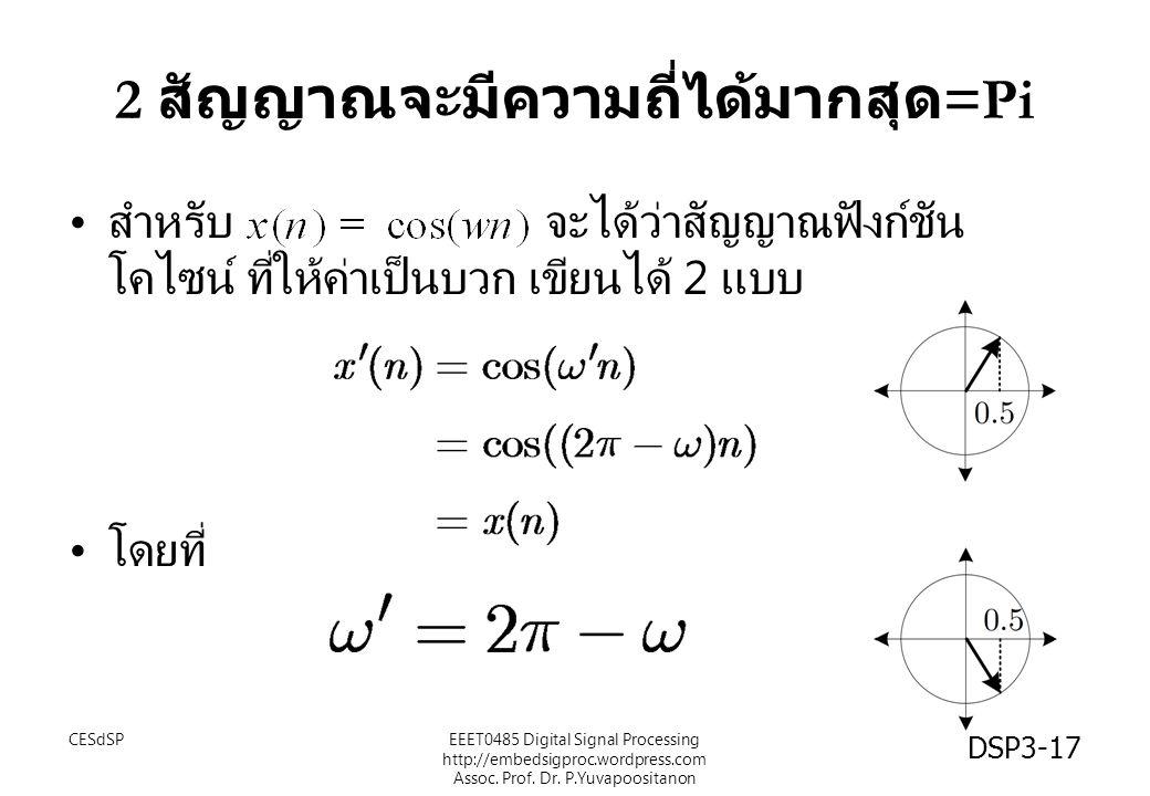 2 สัญญาณจะมีความถี่ได้มากสุด =Pi สำหรับ จะได้ว่าสัญญาณฟังก์ชัน โคไซน์ ที่ให้ค่าเป็นบวก เขียนได้ 2 แบบ โดยที่ CESdSPEEET0485 Digital Signal Processing