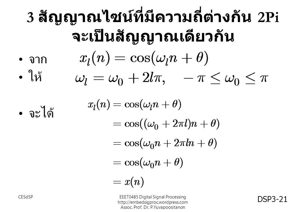3 สัญญาณไซน์ที่มีความถี่ต่างกัน 2Pi จะเป็นสัญญาณเดียวกัน จาก ให้ จะได้ CESdSPEEET0485 Digital Signal Processing http://embedsigproc.wordpress.com Asso