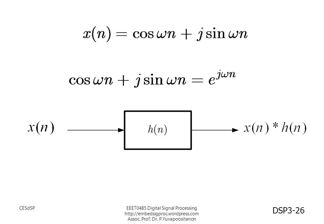 CESdSPEEET0485 Digital Signal Processing http://embedsigproc.wordpress.com Assoc. Prof. Dr. P.Yuvapoositanon DSP3-26