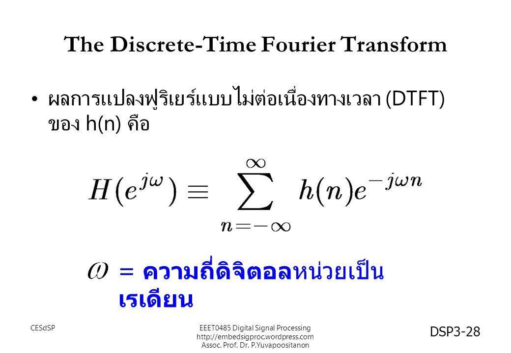 DSP3-28 The Discrete-Time Fourier Transform ผลการแปลงฟูริเยร์แบบไม่ต่อเนื่องทางเวลา (DTFT) ของ h(n) คือ = ความถี่ดิจิตอลหน่วยเป็น เรเดียน EEET0485 Digital Signal Processing http://embedsigproc.wordpress.com Assoc.