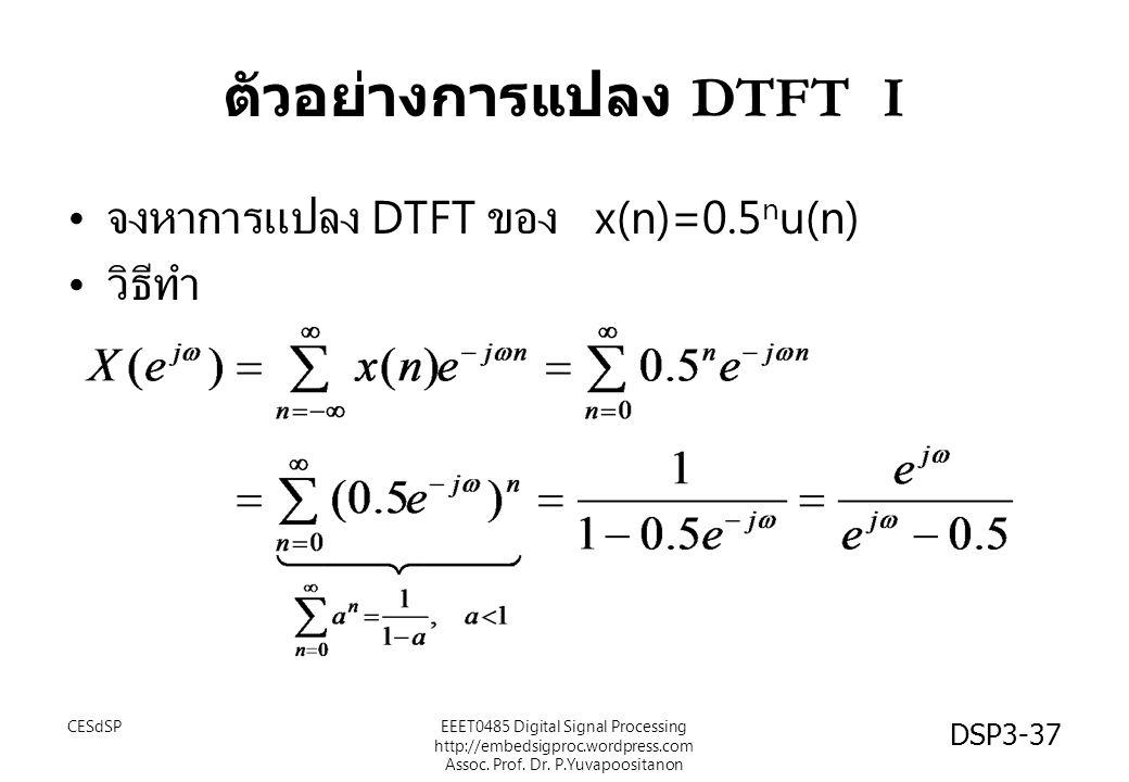 DSP3-37 ตัวอย่างการแปลง DTFT I จงหาการแปลง DTFT ของ x(n)=0.5 n u(n) วิธีทำ EEET0485 Digital Signal Processing http://embedsigproc.wordpress.com Assoc.