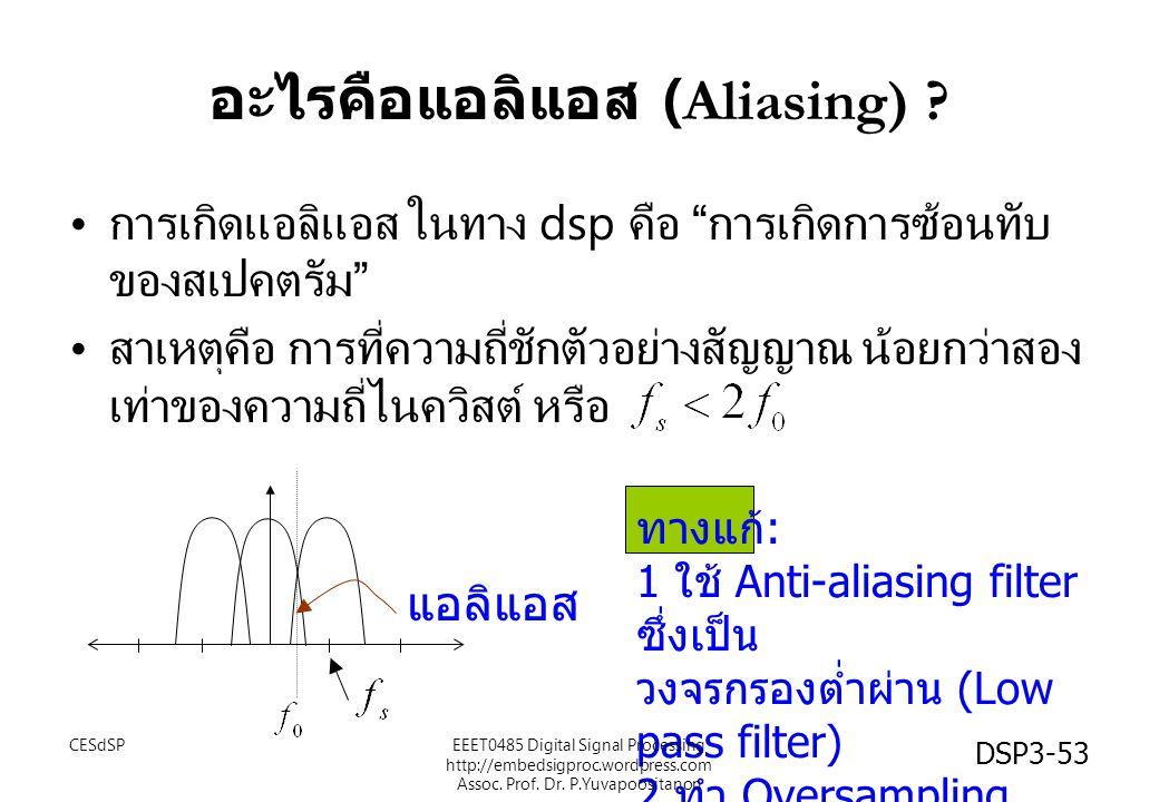 """DSP3-53 อะไรคือแอลิแอส (Aliasing) ? การเกิดแอลิแอส ในทาง dsp คือ """" การเกิดการซ้อนทับ ของสเปคตรัม """" สาเหตุคือ การที่ความถี่ชักตัวอย่างสัญญาณ น้อยกว่าสอ"""