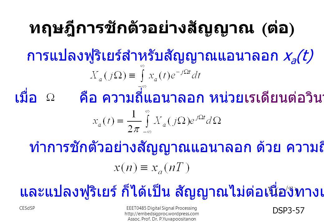 DSP3-57 การแปลงฟูริเยร์สำหรับสัญญาณแอนาลอก x a (t) เมื่อ คือ ความถี่แอนาลอก หน่วยเรเดียนต่อวินาที (rad/sec) ทำการชักตัวอย่างสัญญาณแอนาลอก ด้วย ความถี่
