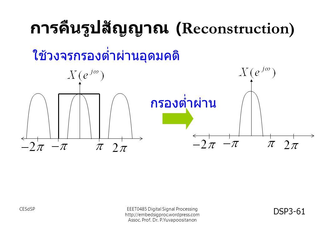 การคืนรูปสัญญาณ (Reconstruction) CESdSPEEET0485 Digital Signal Processing http://embedsigproc.wordpress.com Assoc. Prof. Dr. P.Yuvapoositanon DSP3-61