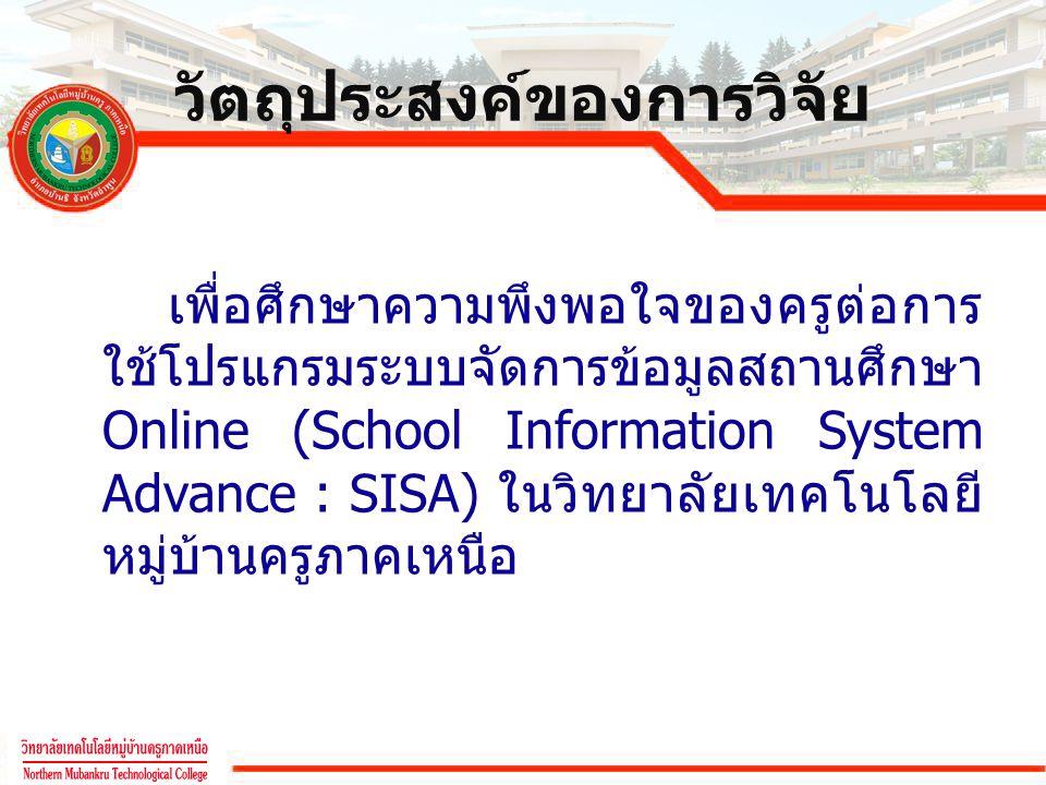 วัตถุประสงค์ของการวิจัย เพื่อศึกษาความพึงพอใจของครูต่อการ ใช้โปรแกรมระบบจัดการข้อมูลสถานศึกษา Online (School Information System Advance : SISA) ในวิทย
