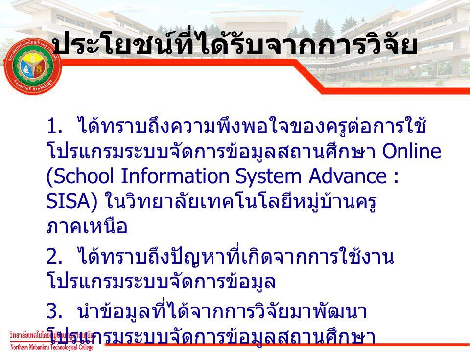 ประโยชน์ที่ได้รับจากการวิจัย 1. ได้ทราบถึงความพึงพอใจของครูต่อการใช้ โปรแกรมระบบจัดการข้อมูลสถานศึกษา Online (School Information System Advance : SISA
