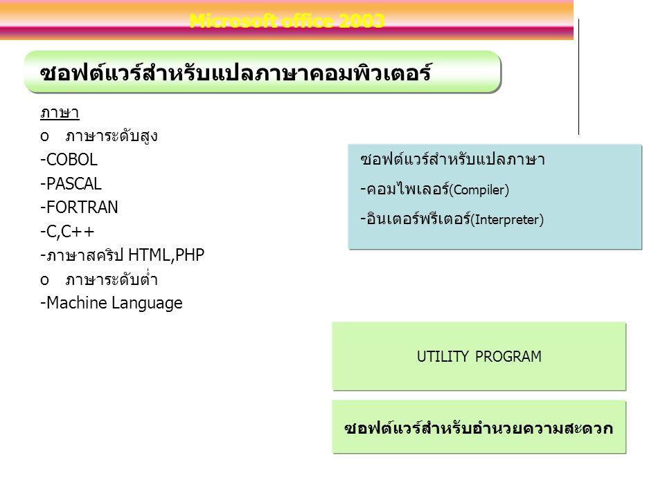 ซอฟต์แวร์สำหรับแปลภาษาคอมพิวเตอร์ ภาษา oภาษาระดับสูง -COBOL -PASCAL -FORTRAN -C,C++ -ภาษาสคริป HTML,PHP oภาษาระดับต่ำ -Machine Language ซอฟต์แวร์สำหรับแปลภาษา -คอมไพเลอร์ (Compiler) -อินเตอร์พรีเตอร์ (Interpreter) UTILITY PROGRAM ซอฟต์แวร์สำหรับอำนวยความสะดวก Microsoft office 2003