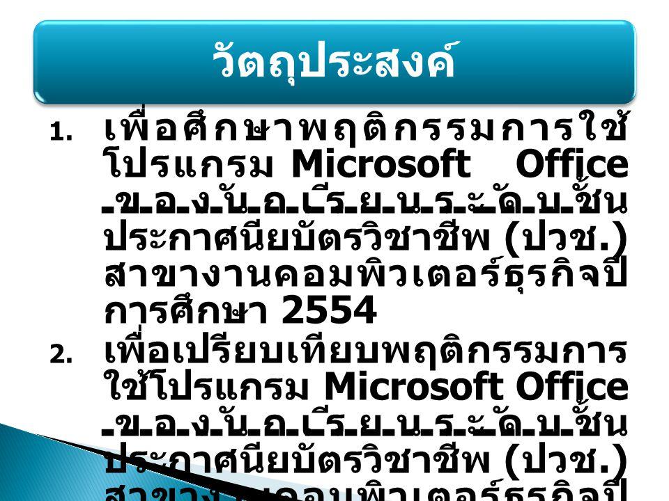 1. เพื่อศึกษาพฤติกรรมการใช้ โปรแกรม Microsoft Office ของนักเรียนระดับชั้น ประกาศนียบัตรวิชาชีพ ( ปวช.) สาขางานคอมพิวเตอร์ธุรกิจปี การศึกษา 2554 2. เพื