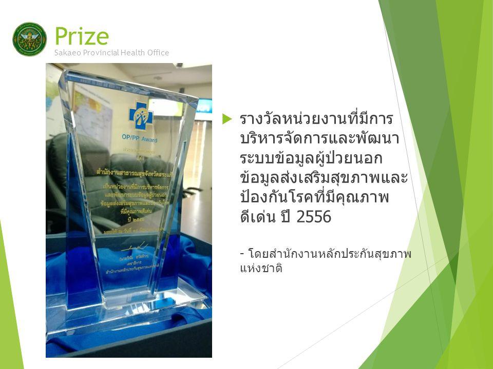 Prize  รางวัลหน่วยงานที่มีการ บริหารจัดการและพัฒนา ระบบข้อมูลผู้ป่วยนอก ข้อมูลส่งเสริมสุขภาพและ ป้องกันโรคที่มีคุณภาพ ดีเด่น ปี 2556 - โดยสำนักงานหลักประกันสุขภาพ แห่งชาติ Sakaeo Provincial Health Office