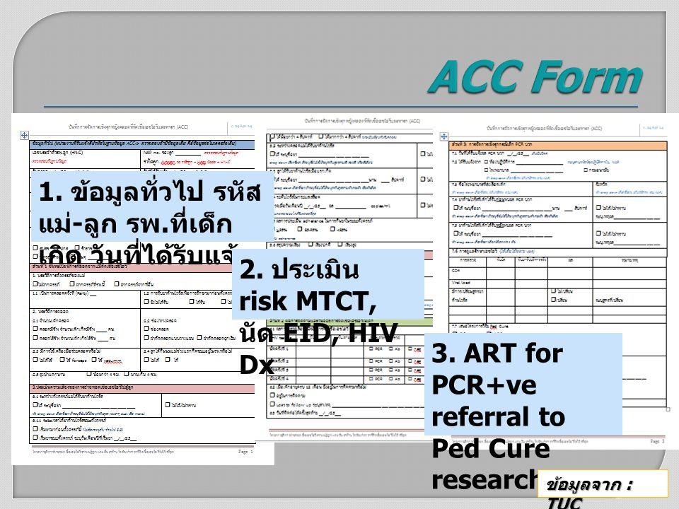 1. ข้อมูลทั่วไป รหัส แม่ - ลูก รพ. ที่เด็ก เกิด วันที่ได้รับแจ้ง 2. ประเมิน risk MTCT, นัด EID, HIV Dx 3. ART for PCR+ve referral to Ped Cure research