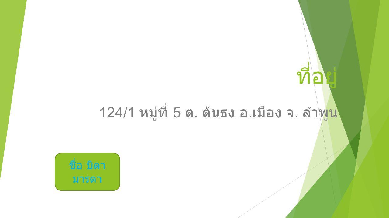 124/1 หมู่ที่ 5 ต. ต้นธง อ. เมือง จ. ลำพูน ชื่อ บิดา มารดา