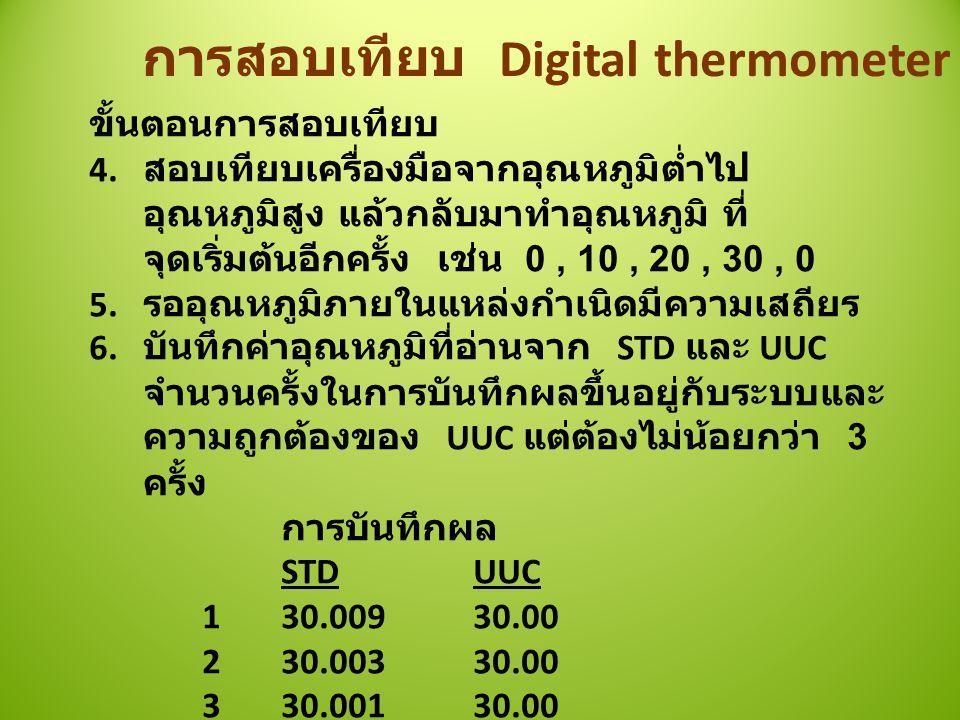 การสอบเทียบ Digital thermometer ขั้นตอนการสอบเทียบ 4.