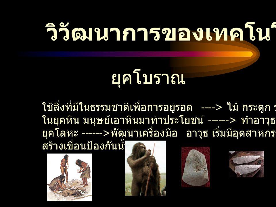 วิวัฒนาการของเทคโนโลย ี ยุคโบราณ ใช้สิ่งที่มีในธรรมชาติเพื่อการอยู่รอด ----> ไม้ กระดูก ขนสัตว์ ใบไม้ ในยุคหิน มนุษย์เอาหินมาทำประโยชน์ ------> ทำอาวุ