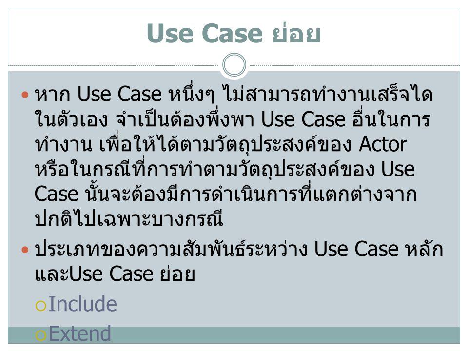 Use Case ย่อย หาก Use Case หนึ่งๆ ไม่สามารถทำงานเสร็จได ในตัวเอง จำเป็นต้องพึ่งพา Use Case อื่นในการ ทำงาน เพื่อให้ได้ตามวัตถุประสงค์ของ Actor หรือในก
