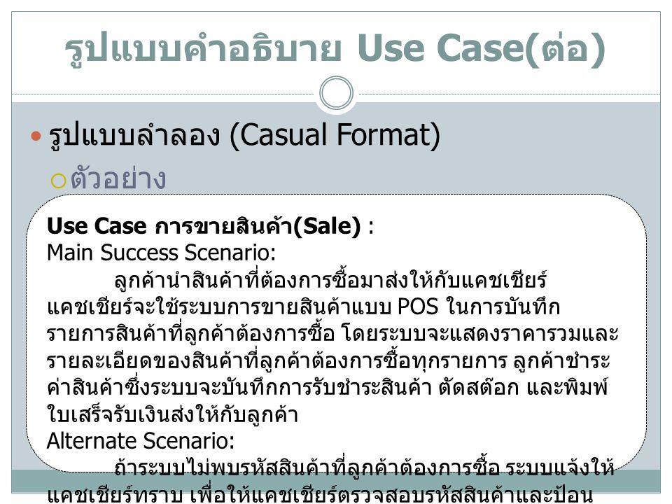 รูปแบบคำอธิบาย Use Case( ต่อ ) รูปแบบเต็ม (Fully-dress Format)  หัวข้อในโครงสร้างของ Use Case รูปแบบเต็ม หัวข้อคำอธิบาย Use Case Name ชื่อของ Use Case ควรต้องสื่อความหมายตาม วัตถุประสงค์ของ Use Case นั้น Scope ขอบเขตของระบบที่ Use Case นี้อยู่ Level- User-goal,- Subfunction Primary Actor ผู้ใช้หลักของ Use Case Stakeholder and their interests ผู้ใช้อื่นๆ ของ Use Case รวมทั้งผู้ใช้หลัก โดย จะต้องระบุความต้องการใช้งานหรือวัตถุประสงค์ ของผู้ใช้แต่ละกลุ่มด้วย Precondition เงื่อนไขหรือสถานะของระบบที่ต้องเป็นจริงเมื่อ เริ่มทำงานตาม Use Case นี้