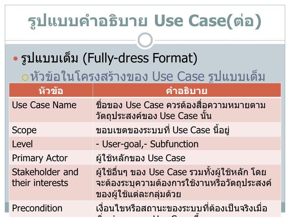 รูปแบบคำอธิบาย Use Case( ต่อ ) รูปแบบเต็ม (Fully-dress Format)( ต่อ )  หัวข้อในโครงสร้างของ Use Case รูปแบบเต็ม หัวข้อคำอธิบาย Success Guarantee (Post-condition) ผลการทำงานของระบบเมื่อ Use Case ทำงาน เสร็จ Main Success Scenario สถานการณ์หลักที่การใช้งาน Use Case ตาม วัตถุประสงค์ของ Primary Actor ได้สำเร็จ โดย อธิบายเป็นขั้นตอนการใช้งานของ Actor Extensions สถานการณ์ที่อาจเกิดขึ้นที่ทำให้การใช้งานระบบ ไม่สำเร็จตามวัตถุประสงค์ของ Actor หรือต้องมี การเพิ่มขั้นตอนการใช้งาน Special Requirements ความต้องการพิเศษที่ไม่ใช่ฟังก์ชั่นการทำงาน Technology and Data Variation List วิธีการรับข้อมูลเข้าหรือแสดงข้อมูล และรูปแบบ ของข้อมูลที่ต้องการกำหนด