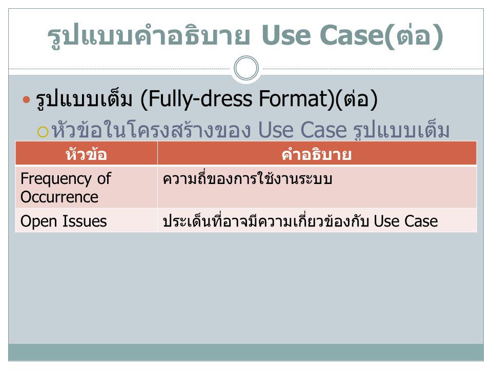 รูปแบบคำอธิบาย Use Case( ต่อ ) รูปแบบเต็ม (Fully-dress Format)( ต่อ )  หัวข้อในโครงสร้างของ Use Case รูปแบบเต็ม หัวข้อคำอธิบาย Frequency of Occurrenc