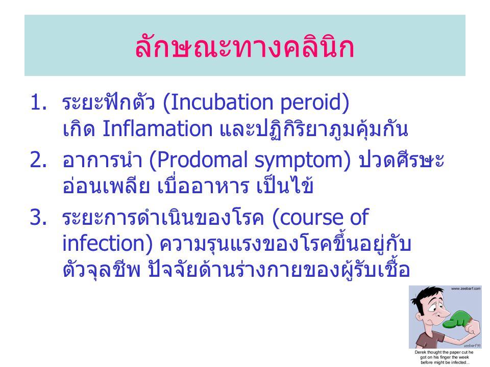 ลักษณะทางคลินิก 1.ระยะฟักตัว (Incubation peroid) เกิด Inflamation และปฏิกิริยาภูมคุ้มกัน 2.อาการนำ (Prodomal symptom) ปวดศีรษะ อ่อนเพลีย เบื่ออาหาร เป