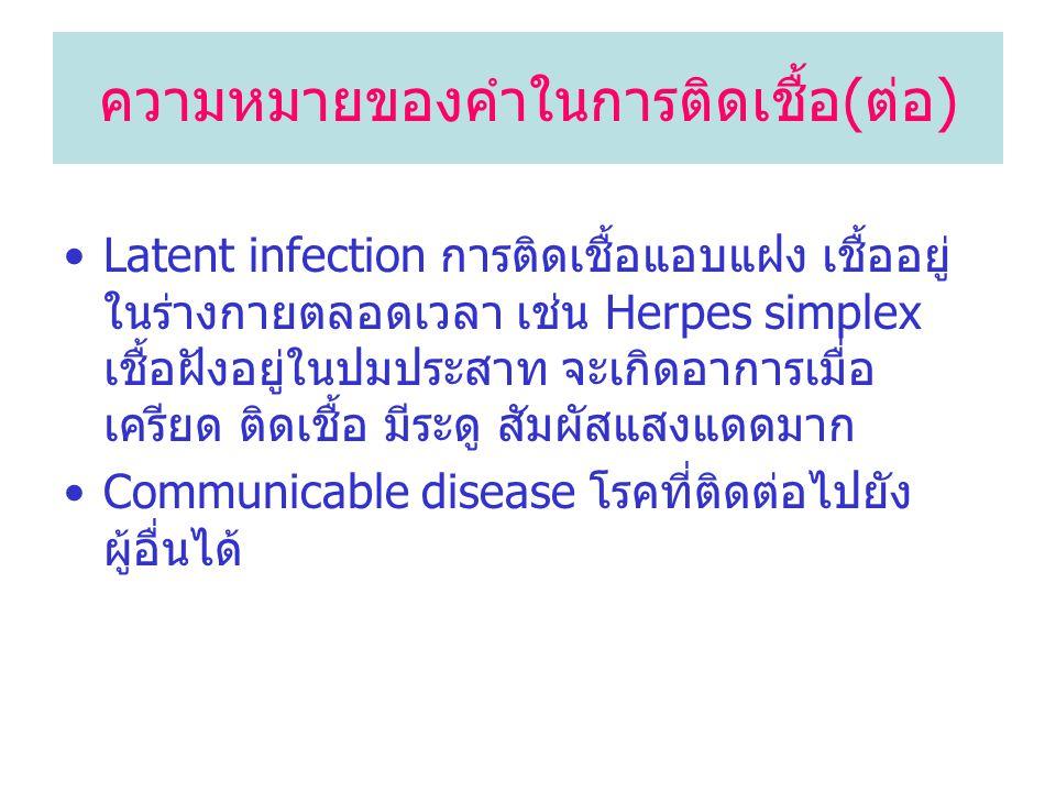 Latent infection การติดเชื้อแอบแฝง เชื้ออยู่ ในร่างกายตลอดเวลา เช่น Herpes simplex เชื้อฝังอยู่ในปมประสาท จะเกิดอาการเมื่อ เครียด ติดเชื้อ มีระดู สัมผ