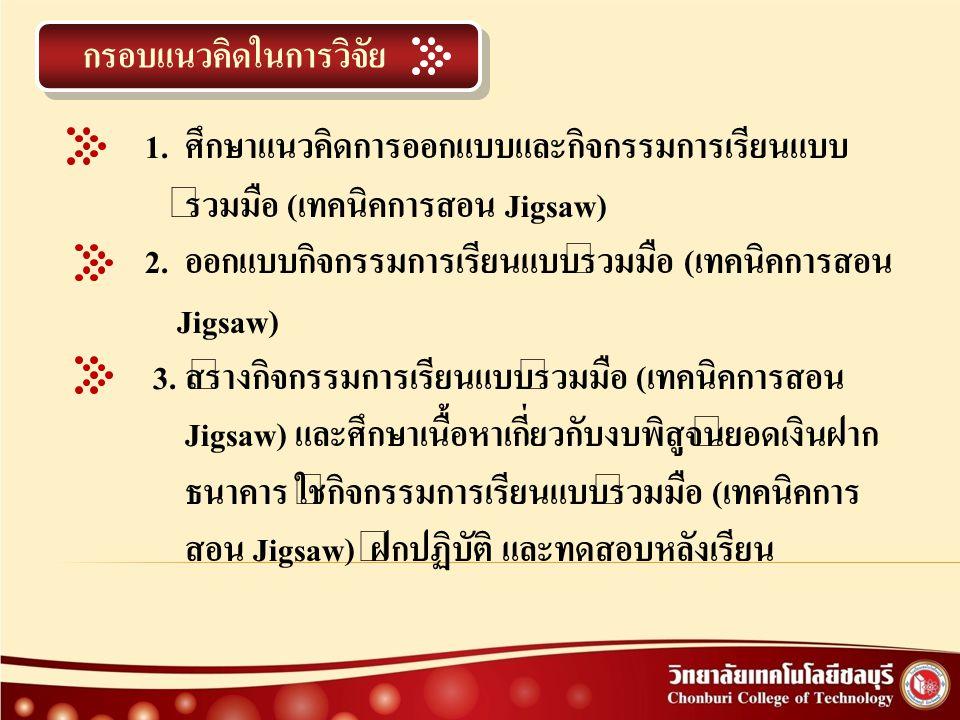 ประชากรและกลุ่มตัวอย่าง ประชากรกลุ่มเป้าหมายที่ใช้ในการวิจัยครั้งนี้ เป็นนักเรียนชั้นประกาศนียบัตรวิชาชีพชั้นสูงปีที่ 2 ( ปวส.2) โรงเรียนเทคโนโลยีชลบุรี อำเภอเมือง จังหวัดชลบุรี ภาคเรียนที่ 2 ปีการศึกษา 2553 จำนวน 1 ห้องเรียน รวม 26 คน