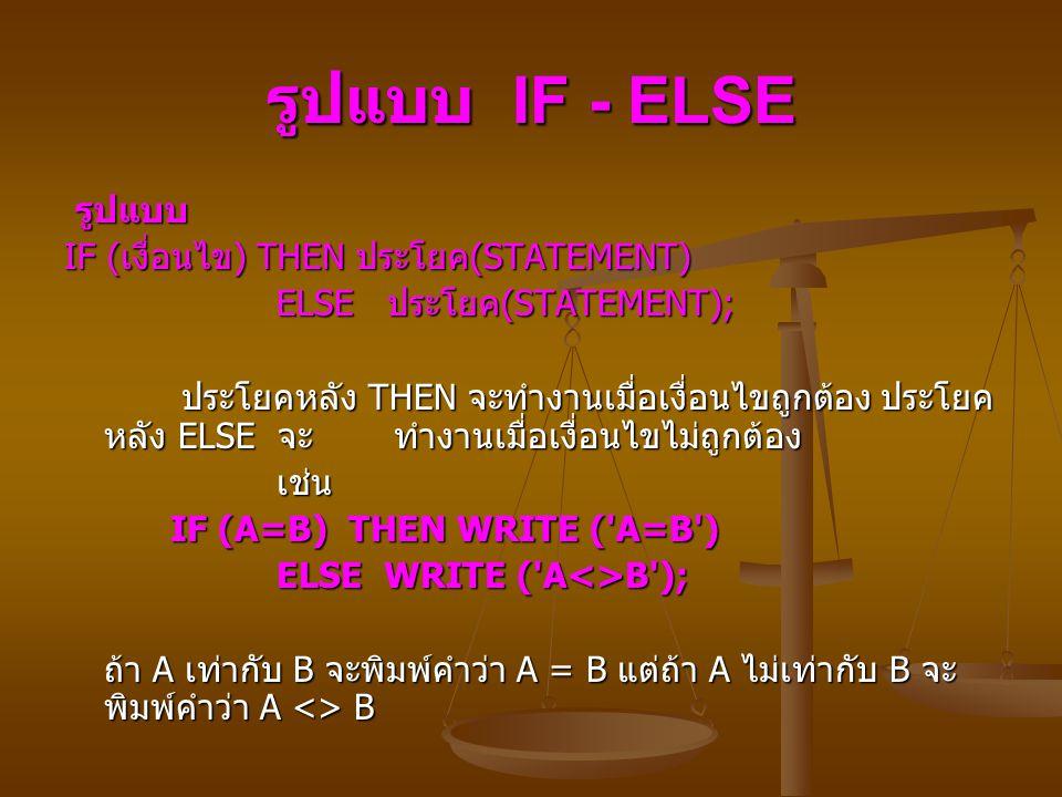 รูปแบบ IF - ELSE รูปแบบ รูปแบบ IF ( เงื่อนไข ) THEN ประโยค (STATEMENT) ELSE ประโยค (STATEMENT); ELSE ประโยค (STATEMENT); ประโยคหลัง THEN จะทำงานเมื่อเงื่อนไขถูกต้อง ประโยค หลัง ELSE จะ ทำงานเมื่อเงื่อนไขไม่ถูกต้อง ประโยคหลัง THEN จะทำงานเมื่อเงื่อนไขถูกต้อง ประโยค หลัง ELSE จะ ทำงานเมื่อเงื่อนไขไม่ถูกต้อง เช่น เช่น IF (A=B) THEN WRITE ( A=B ) IF (A=B) THEN WRITE ( A=B ) ELSE WRITE ( A<>B ); ELSE WRITE ( A<>B ); ถ้า A เท่ากับ B จะพิมพ์คำว่า A = B แต่ถ้า A ไม่เท่ากับ B จะ พิมพ์คำว่า A <> B