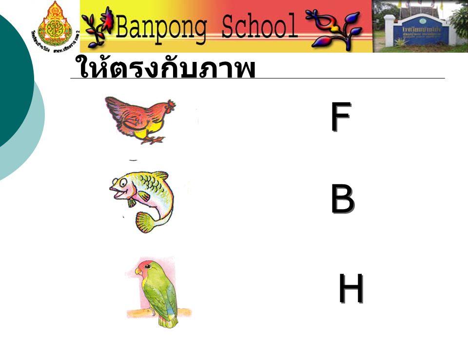ให้ลากตัวอักษรใส่ ให้ตรงกับภาพ F F B B H H