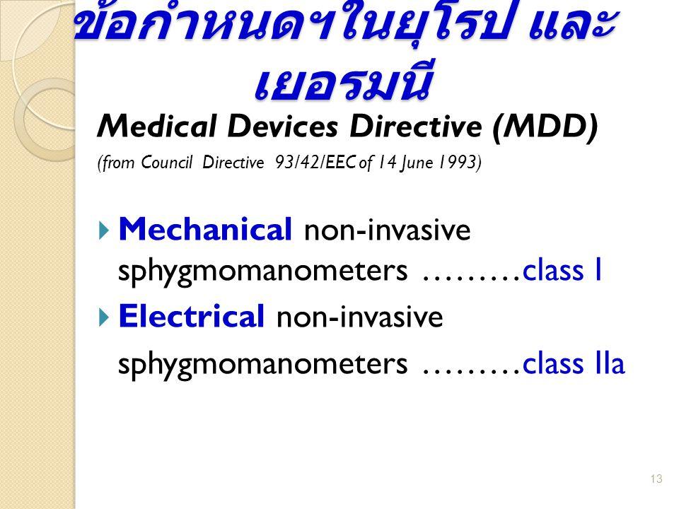 ข้อกำหนดฯในยุโรป และ เยอรมนี 13 Medical Devices Directive (MDD) (from Council Directive 93/42/EEC of 14 June 1993)  Mechanical non-invasive sphygmoma