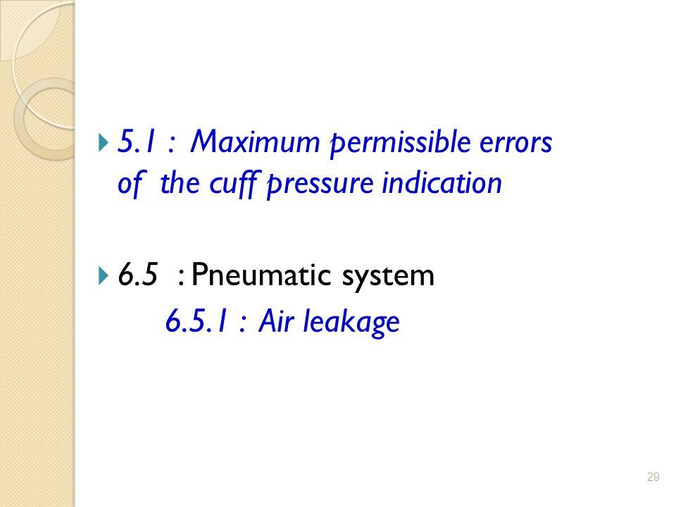 29  5.1 : Maximum permissible errors of the cuff pressure indication  6.5 : Pneumatic system 6.5.1 : Air leakage