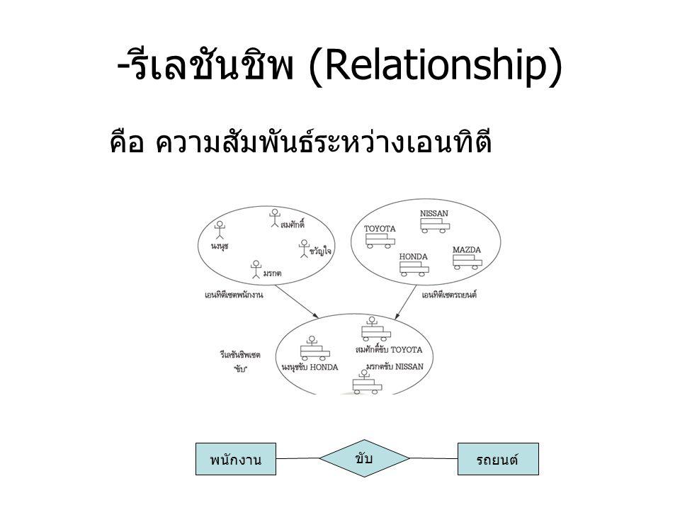 - รีเลชันชิพ (Relationship) คือ ความสัมพันธ์ระหว่างเอนทิตี พนักงาน ขับ รถยนต์