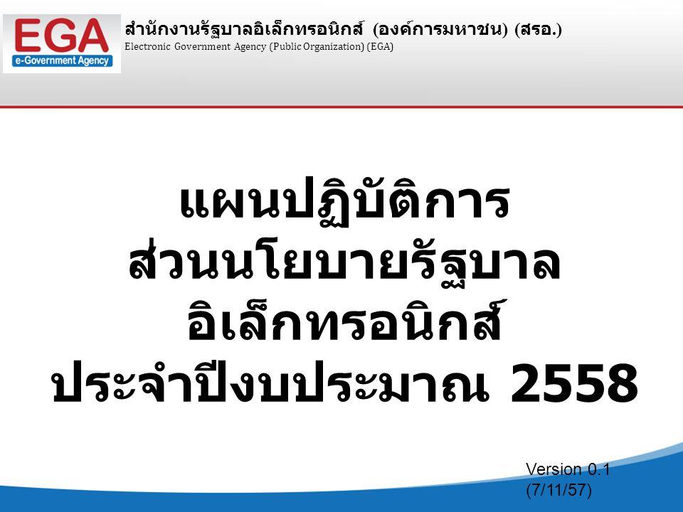 สำนักงานรัฐบาลอิเล็กทรอนิกส์ ( องค์การมหาชน ) ( สรอ.) 2 กลุ่มงานปีงบประมาณ 2558 ปีงบประมาณ 2559 I.