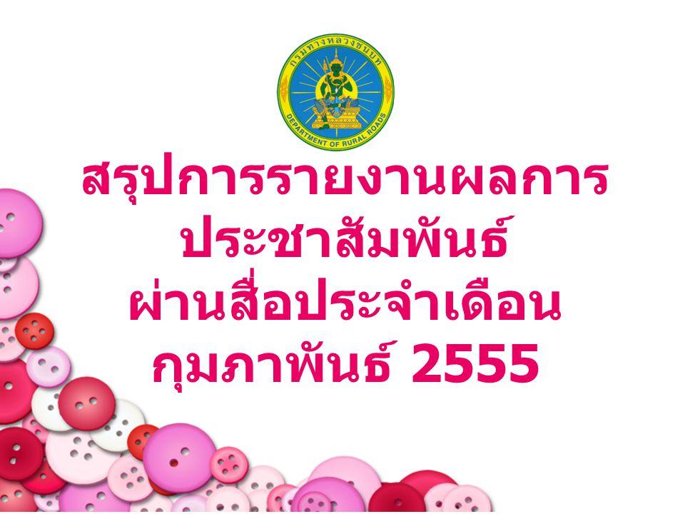 สรุปการรายงานผลการ ประชาสัมพันธ์ ผ่านสื่อประจำเดือน กุมภาพันธ์ 2555