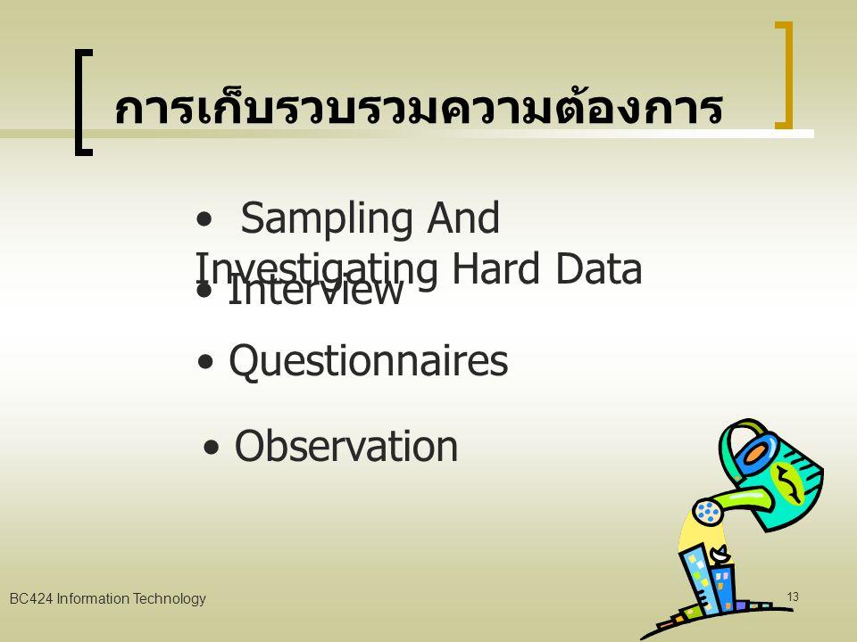 BC424 Information Technology 12 ขั้นตอนการพัฒนาระบบ สารสนเทศ การสำรวจเบื้องต้น (Preliminary Investigation) การวิเคราะห์ความต้องการ (Requirement Analysis) การออกแบบระบบ (System Design) การจัดหาอุปกรณ์ของระบบ (System Acquisition) การติดตั้งระบบและการบำรุงรักษา (System Implement & Maintenance)
