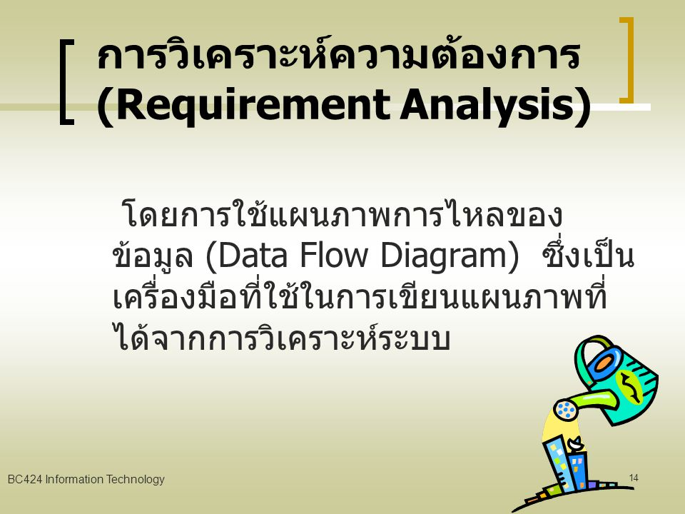 BC424 Information Technology 13 การเก็บรวบรวมความต้องการ Sampling And Investigating Hard Data Interview Questionnaires Observation