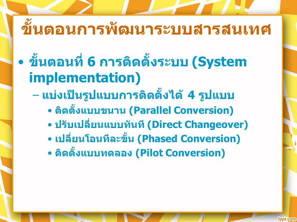 ขั้นตอนการพัฒนาระบบสารสนเทศ ขั้นตอนที่ 6 การติดตั้งระบบ (System implementation) – แบ่งเป็นรูปแบบการติดตั้งได้ 4 รูปแบบ ติดตั้งแบบขนาน (Parallel Conver