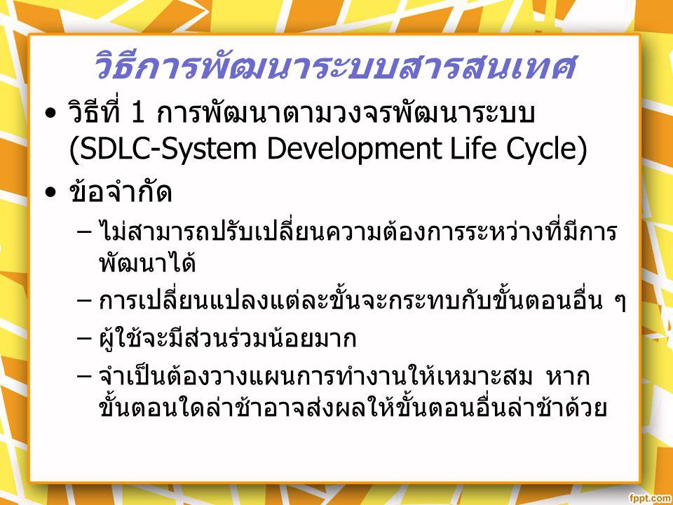 วิธีที่ 1 การพัฒนาตามวงจรพัฒนาระบบ (SDLC-System Development Life Cycle) ข้อจำกัด – ไม่สามารถปรับเปลี่ยนความต้องการระหว่างที่มีการ พัฒนาได้ – การเปลี่ย