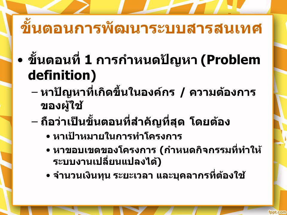 ขั้นตอนการพัฒนาระบบสารสนเทศ ขั้นตอนที่ 1 การกำหนดปัญหา (Problem definition) – หาปัญหาที่เกิดขึ้นในองค์กร / ความต้องการ ของผู้ใช้ – ถือว่าเป็นขั้นตอนที