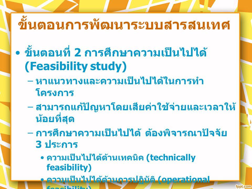 ขั้นตอนการพัฒนาระบบสารสนเทศ ขั้นตอนที่ 2 การศึกษาความเป็นไปได้ (Feasibility study) – หาแนวทางและความเป็นไปได้ในการทำ โครงการ – สามารถแก้ปัญหาโดยเสียค่