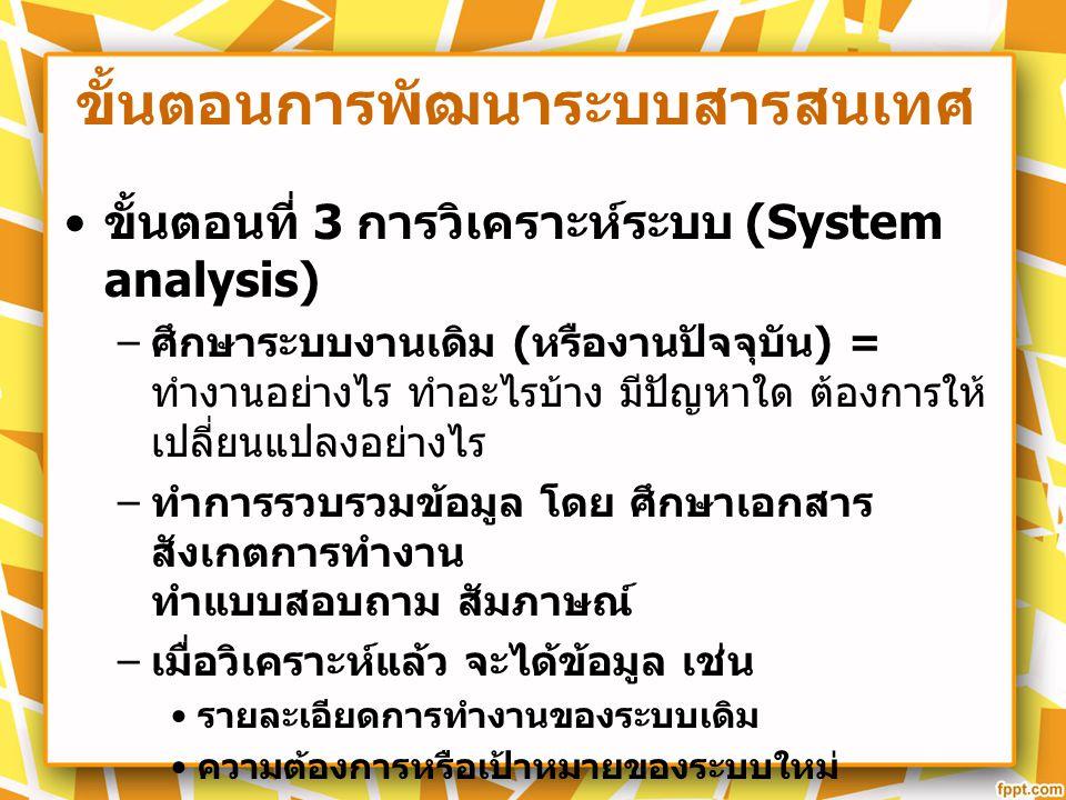 ขั้นตอนการพัฒนาระบบสารสนเทศ ขั้นตอนที่ 3 การวิเคราะห์ระบบ (System analysis) – ศึกษาระบบงานเดิม ( หรืองานปัจจุบัน ) = ทำงานอย่างไร ทำอะไรบ้าง มีปัญหาใด