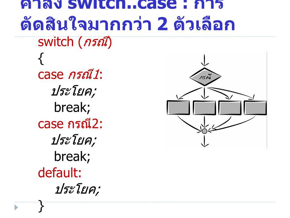 switch ( กรณี ) { case กรณี 1: ประโยค ; break; case กรณี 2: ประโยค ; break; default: ประโยค ; } คำสั่ง switch..case : การ ตัดสินใจมากกว่า 2 ตัวเลือก