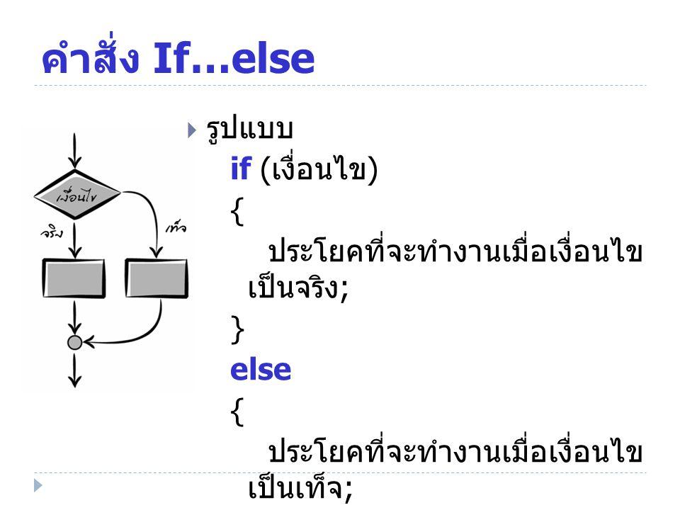 คำสั่ง If…else  รูปแบบ if ( เงื่อนไข ) { ประโยคที่จะทำงานเมื่อเงื่อนไข เป็นจริง ; } else { ประโยคที่จะทำงานเมื่อเงื่อนไข เป็นเท็จ ; }