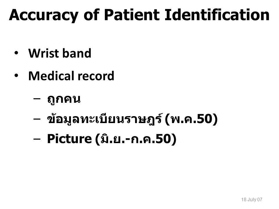 18 July 07 Accuracy of Patient Identification Wrist band Medical record –ถูกคน –ข้อมูลทะเบียนราษฎร์ (พ.ค.50) –Picture (มิ.ย.-ก.ค.50)